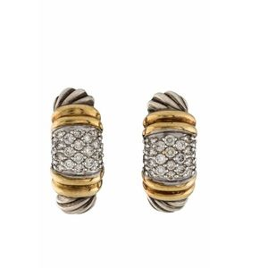 David Yurman 2 tone diamond Metro ear-clips